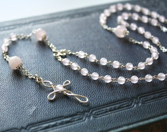Rosequartz Rosary - Light Pink Rosequartz Gemstone Beaded Long Rosary Necklace, Handmade Sterling Silver Jewellery by Ikuri immortelle