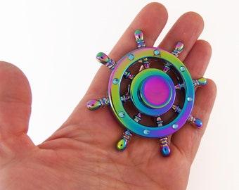 DISCOUNT! Ship wheel fidget spinner, metal fidget spinner, rainbow fidget spinner, nautical fidget spinners, steering wheel finger spin toy