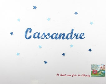 Applied fusible customizable name 9 letters (example, Cassandre) glittery fabric (colors)