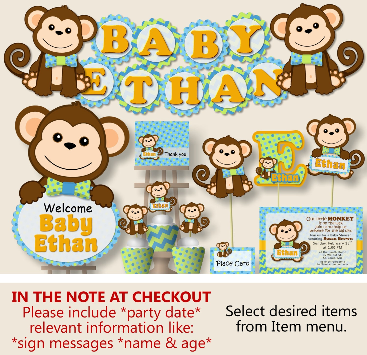 Boy Monkey Baby Shower Decorations Monkey First Birthday