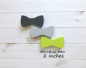 Its A Boy Party Idea, Bow Tie Confetti, Little Man Baby Shower, Bow Tie Decor, Scrapbook, Die Cut, Black Gray Lime Green, 2 inches Set of 60