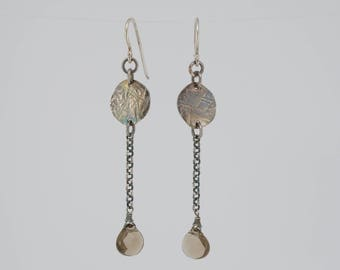 Long sterling silver + smokey quartz earrings, hammer texture, patina, handmade, unique jewelry, date night jewelry, gift for her, gemstone