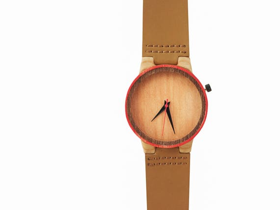 7PLIS watch #094 Recycled SKATEBOARD #madeinfrance brown red wood