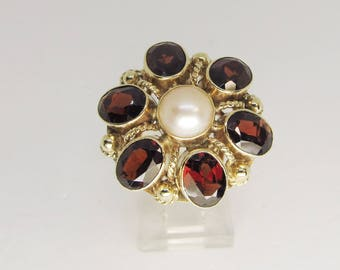 Garnet and Pearl Cluster Ring