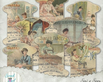 Sewing, Needlework, Embroidery, Thread Keepers - Lace - Ribbon - Elastic, Thread Tidy, Paper Ephemera, Sewingroom Supplies - Sew a Seam