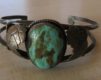 Vintage Handmade Sterling Silver and Turquoise Cuff Bracelet Navajo