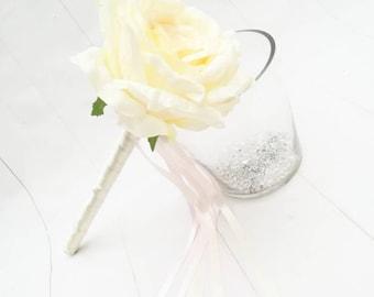 Flower Girl Wand, Rose Wand, Ivory Wand, Flower Girl Flowers, Baby Wand , Flower Girl Accessories, Flower Wand, Butterfly Wand, Fairy Wand