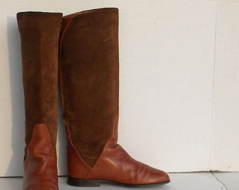 Vintage boots. Women boots, Sz 6.5 Vintage brown leather and suede tall flat italian made riding women boots.