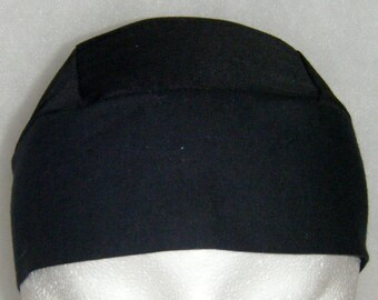 Black Skull Cap, Chemo Cap, Handmade, Biker, Head Wrap, Motorcycle, Do Rag, Hat, Hair Loss, Helmet Liner, Alopecia, Athletes, Surgical Cap