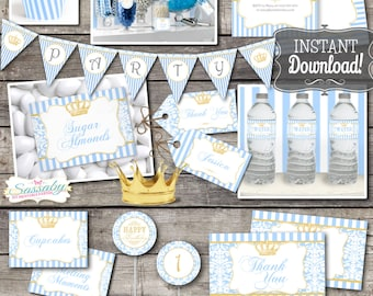 Little Prince Collection - INSTANT DOWNLOAD - Editable & Printable, Blue Gold Invitation, Banner, Birthday Party or Baby Shower
