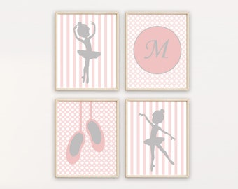 Ballerina Nursery Art, Baby Girl Ballerina Decor Print with Personalized Name Art, Suits Pink And Grey Nursery - Set of 4 prints, H151