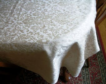 "Ivory/champagne  damask tablecloth 98"" x 56""  Weddings, Bridal Luncheons"