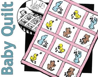 Baby Quilt Pattern PDF DIGITAL DOWNLOAD Baby Animals Quilt Bear Quilt Bunny Quilt Duck Quilt Baby Blanket Pattern Nursery Quilt Baby Shower