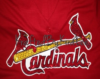 St. Louis Cardinals Women's Jersey with Swarovski Crystals (Bedazzled Cardinals)