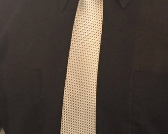 Vintage MENS Jac Lin by Prince Igor jacquard woven silk skinny tie, circa 50s-60s