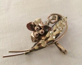 Art Nouveau Watch Pin, Two-Toned Gold-Filled, 1940's; Carl-Art, Providence RI