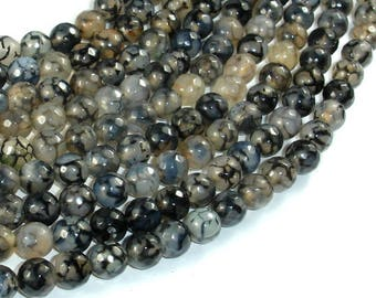 Dragon Vein Agate Beads, Black & Clear, 8mm(8.4mm) Faceted Round Beads, 14.5 Inch, Full strand, Approx 47 beads, Hole 1mm (122025315)