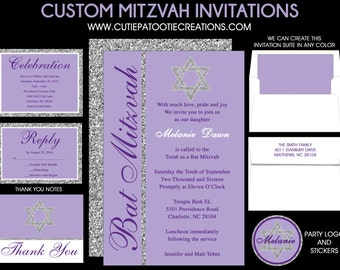 Lilac Purple Bat Mitzvah Invitation with Silver FAUX Glitter - Save the Date Card - Thank You Notes - Rsvp Cards - Use for ANY EVENT