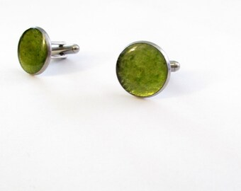 Wine Glass Cuff Links, Round Green Yellow Cuff Links, upcycled wine bottle, Men's Cuff links, Recycled, Gift, Stainless Steel, New Orleans