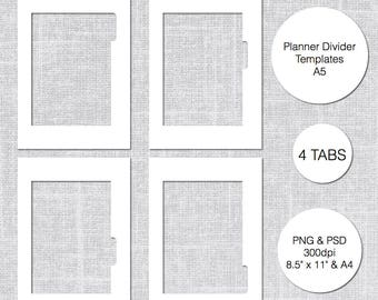 A5 Planner Divider Template, 4 Tabs, PSD & PNG, Instant Download