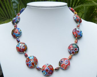 Murano Glass, Venetian Beads, Millefiori Disc Necklace with Small Oval Millefiori, Gold Filled Link Chain & Clasp
