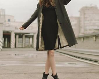 Woman green coat /  Green spring coat / Autumn wool coat