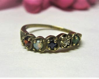 Brass Multi Stone Ring with 5 Birthstones 1970s Mother's Ring Brass Gem Ring Multi Colored Ring