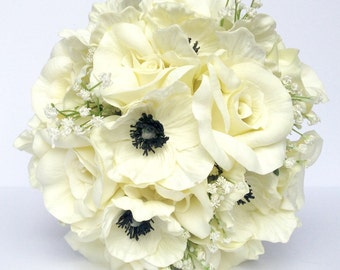 White Anemone Wedding Bouquet- Black and White Rose and Anemone Bouquet- Real to Touch Black and Ivory Anemone and Rose Wedding Bouquet