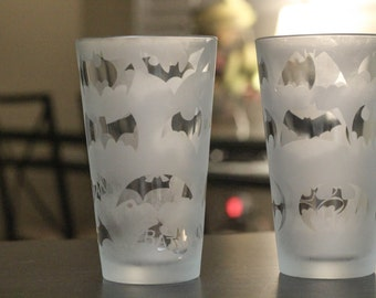 Batman Logo History Etched Pint Glasses Set of 2