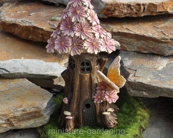 Spring Petals Solar Fairy House for Miniature Garden, Fairy Garden