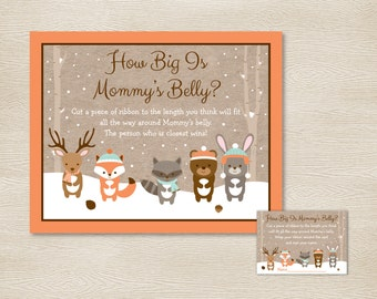 Winter Woodland Animal How Big Is Mommy's Belly Game / Winter Woodland Baby Shower / Belly Guessing Game / INSTANT DOWNLOAD A111