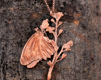 Electroformed Real Butterfly on Flowers Copper Necklace P9