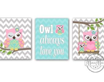 Owl Nursery Decor Owl Print wall art ,Set of three Prints Girls Room Decor Woodland Owl Nursery Art , Owl will Always Love you