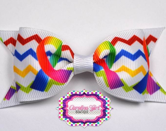 "Autism Awareness Ribbon Tuxedo Bow~ 3.5"" Hairbow~ Small Hair Bow ~ Girls Barrette ~ Toddler Bow ~ Baby Hair Bow ~ Hair Clip ~ Girls Hair Bow"