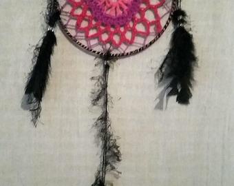 Pink Purple and Black Mandala Dream Catcher - small