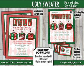INSTANT DOWNLOAD - Ugly Holiday Sweater Party Invitation, Party Sign, Voting Ballots - Printable and Personalized DIY - Digital Files