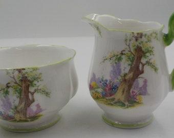 Royal Albert Vintage Bone China Sugar Bowl and Creamer - Set - Greenwood Tree - Made in England - Charming - Shabby Cottage