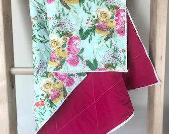 Pink and Blue Floral Baby Quilt