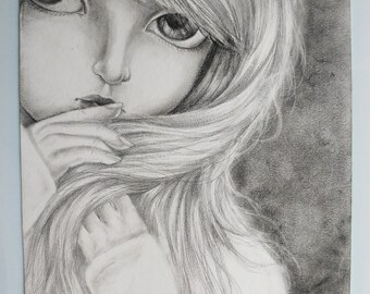 Original Drawing Big Eyes Art Doll Graphite Pencil