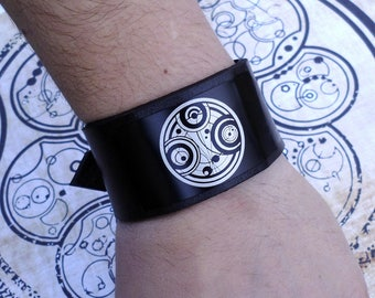 Time Lord seal,Doctor Who, Gallifrey,Dr Who Gallifreyan Symbol inspired handmade leather bracelet wrist / cuff