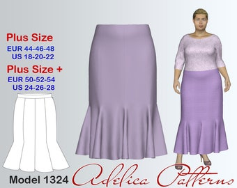 Plus size 8 Gore Flared Skirt Sewing Pattern Women's sizes 18-28, Plus size Skirt PDF Instant Download Sewing Pattern/Skirt Sewing Pattern