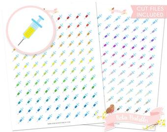 Syringe Printable Planner Stickers, Erin Condren, Hospital, Doctor, Nurse, medical, medicine planner sticker sheet. Download DIY Sticker PDF