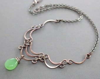 Layered scallop shape copper necklace with apple green chalcedony stone - Cascade necklace - Statement necklace - Stone necklace - NK044