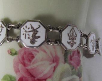 Belly Dance Jewelry Siam Sterling Bracelet Nielloware Bellydance Jewelry White Enamel Jewelry  Sterling Bracelet