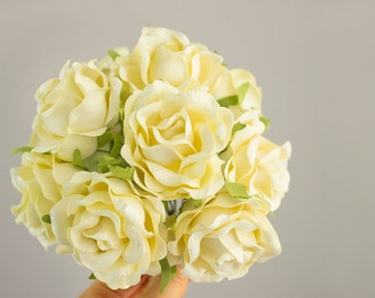 New Item! Vintage Cream Paper Roses / One Dozen / 12 Paper Flowers With Wire Stems for Bridal / Parties / Bouquets / Baskets / Favors