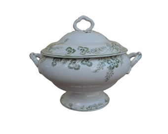 Antique French Creil & Montereau White Ironstone Tureen - Richelieu Green Pattern -  19th century Lidded Soup Tureen - Shabby Chic Country