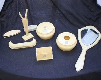 Antique Ivory Pyralin Bakelite Vanity Set