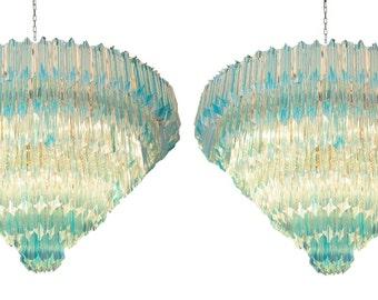 italian mid century design acquamare murano bars chandeliers pair