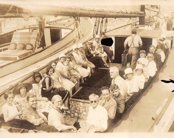 Vintage sepia photo sea cruise  about 1925