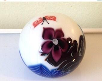 Cruelest Month Sale Vintage 70s Orient & Flume Steve Beyers Art Glass Paperweight 1977 Signed Butterfly